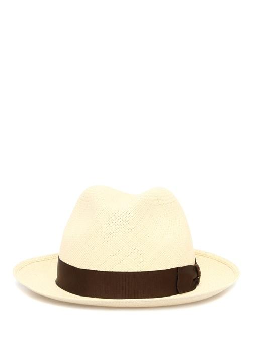 Krem Siyah Bantlı Hasır Erkek Şapka
