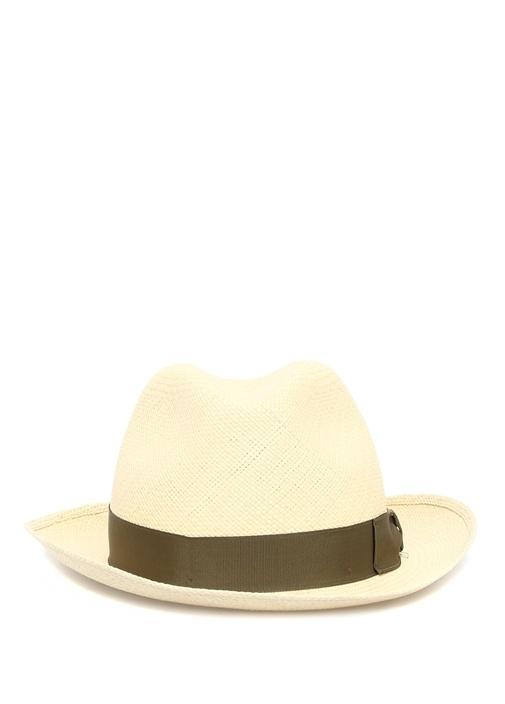 Krem Yeşil Bantlı Hasır Erkek Şapka