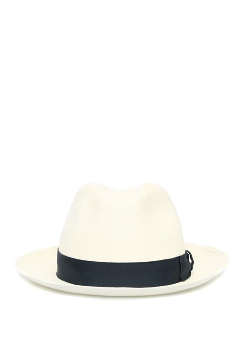 Beyaz Mavi Bantlı Hasır Erkek Şapka