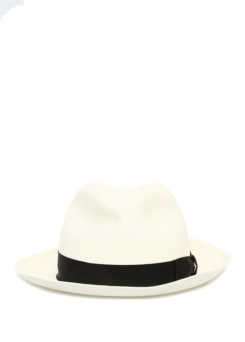 Beyaz Siyah Bantlı Hasır Erkek Şapka