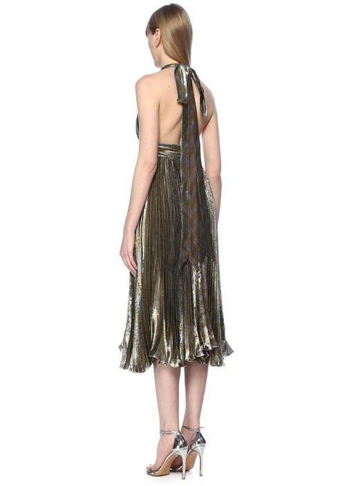 Gwen Gold Silver Midi Kokteyl Elbise