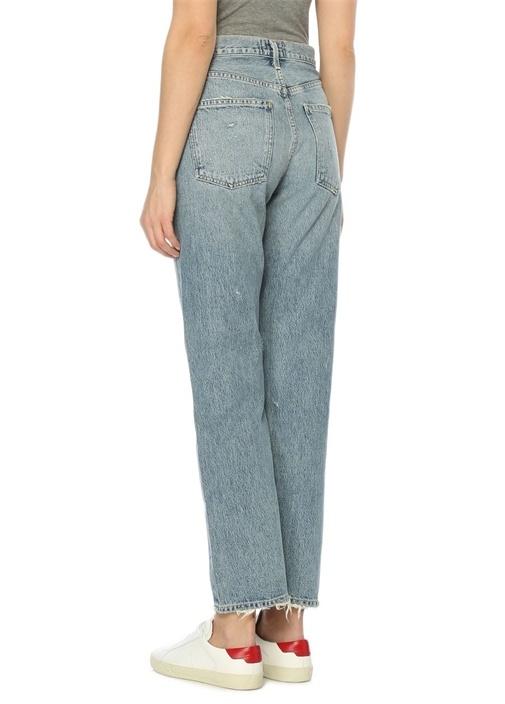 90S Mavi Yüksek Bel Düz Paça Jean Pantolon