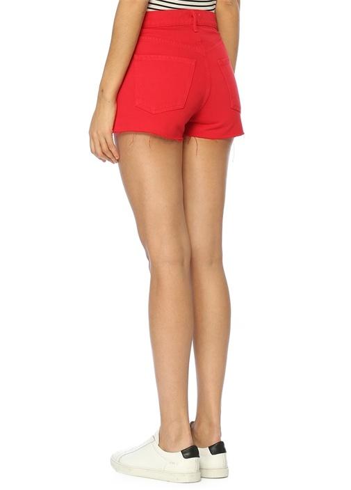 Jaden Kırmızı Yüksek Bel Jean Şort