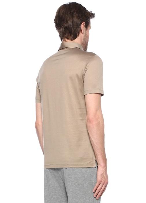 Bej Polo Yaka Düğme Kapatmalı T-shirt
