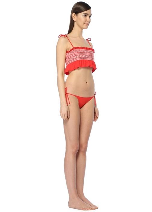 Selena Kırmızı Bağcıklı Fırfırlı BikiniTakım