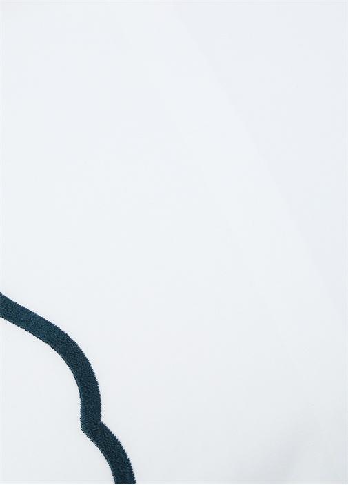 Ekru Mavi Şeritli Yastık Kılıfı