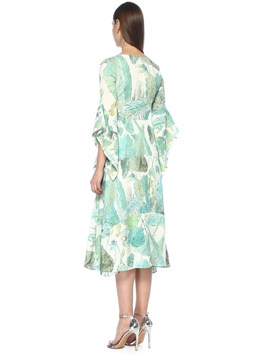 Yeşil Beyaz V Yaka Önü Bağcıklı Midi Elbise
