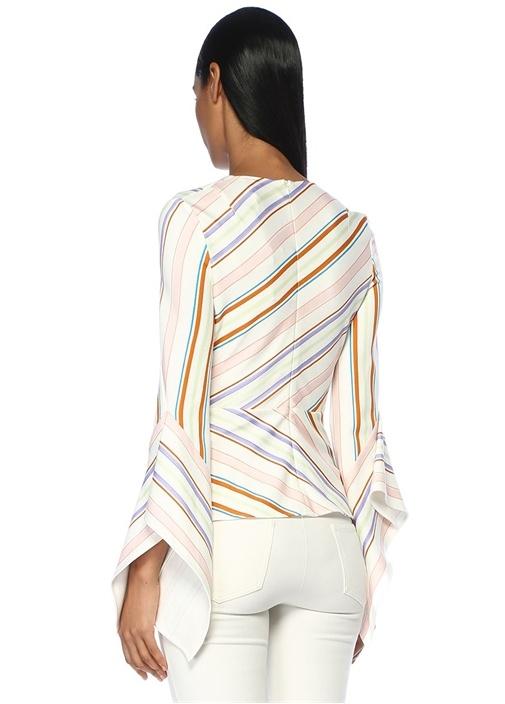 Beyaz V Yaka Çizgi Desenli Bağlamalı Volanlı Bluz
