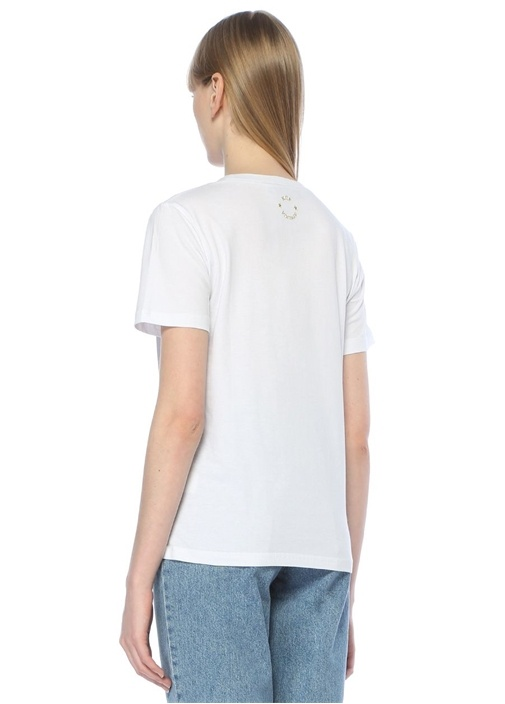 Beyaz Nakışlı Tshirt