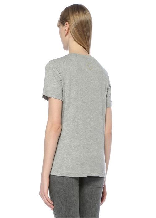 Gri Nakışlı Tshirt