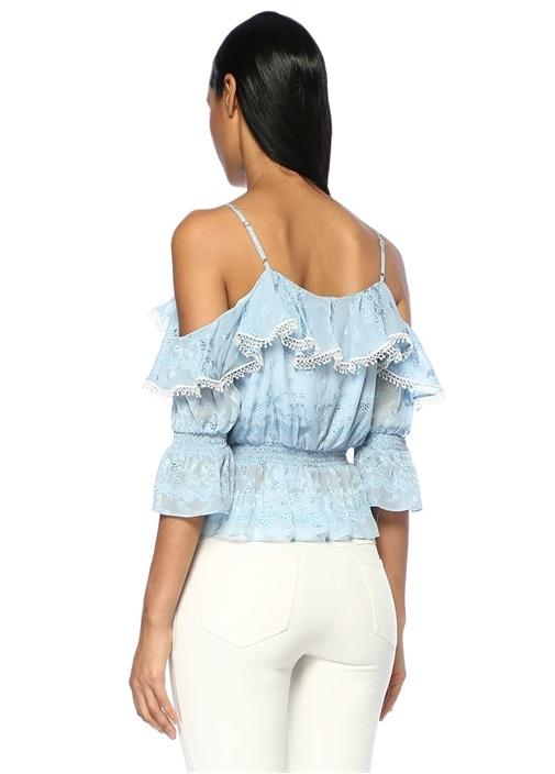 Mavi Omzu Açık Fırfırlı Şeritli İpek Bluz
