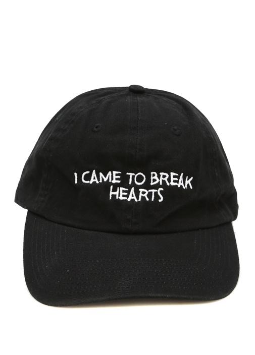 Siyah Yazı Nakışlı Kadın Şapka