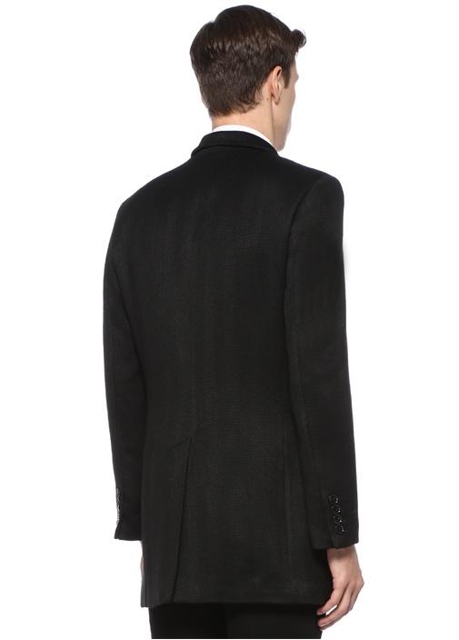 Siyah Kelebek Yaka Balıksırtı Desenli Yün Palto