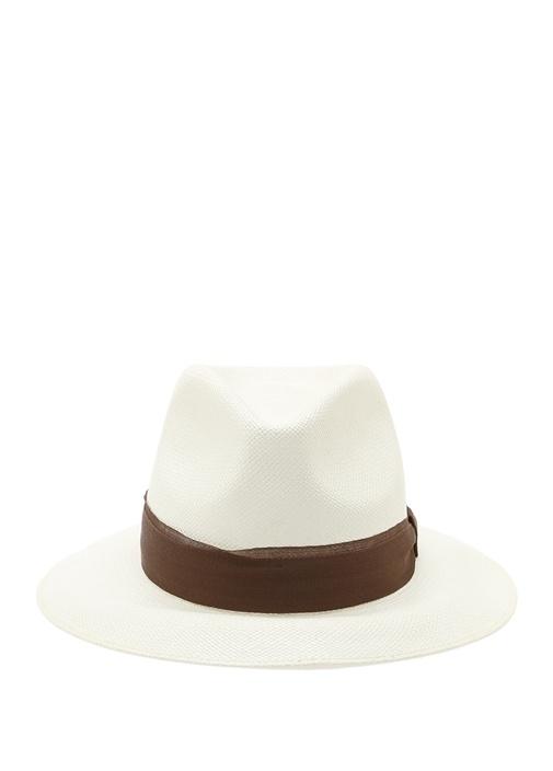 Beyaz Kahverengi Şeritli Erkek Hasır Şapka