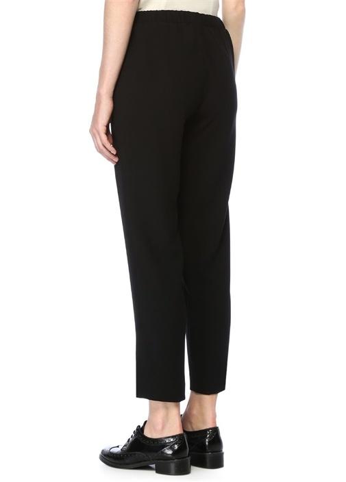 Siyah Yüksek Bel Krep Pijama Pantolon