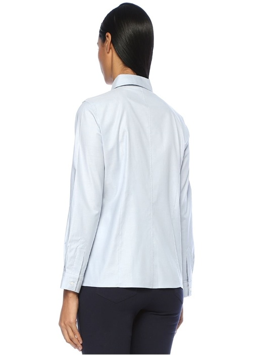 Mavi Gizli Düğmeli Streç Oxford Gömlek