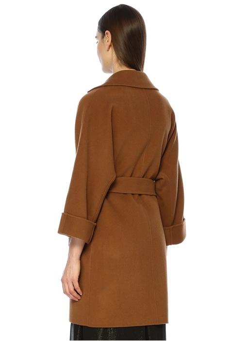Kahverengi Kelebek Yaka Beli Kuşaklı Yün Palto