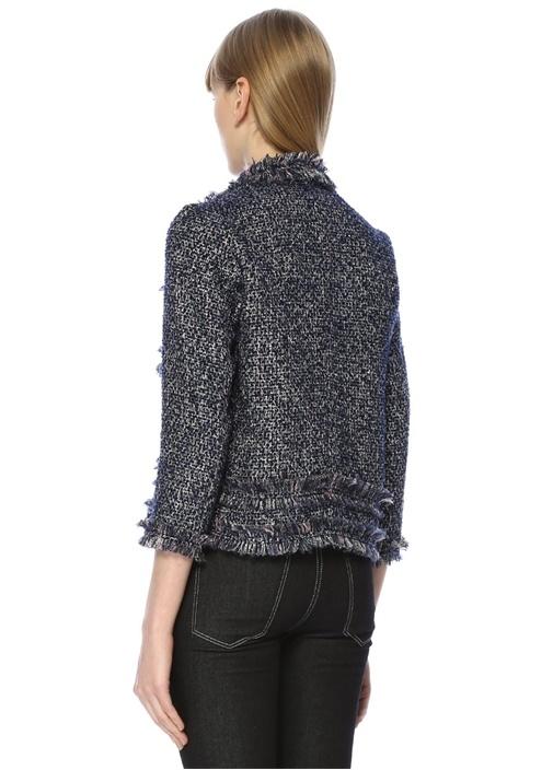 Lacivert Kelebek Yaka Püsküllü Tweed Ceket