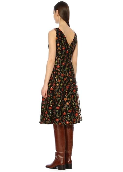 Kahverengi Önü Arkası V Yaka Çiçekli Midi Elbise