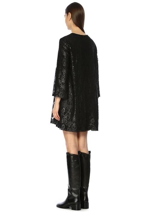 Siyah V Yaka Dantelli Varak Baskılı Mini Elbise