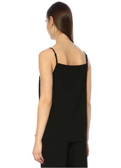 Siyah Beyaz V Yaka Garnili Bluz