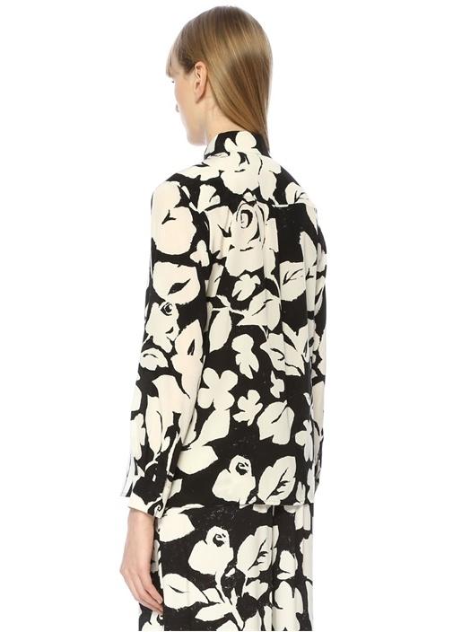 Siyah Beyaz Çiçek Baskılı İpek Gömlek