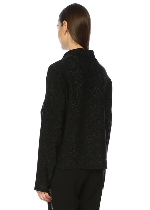 Siyah Dik Yaka Simli Bluz