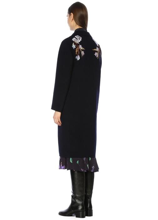 Lacivert Nakışlı Kelebek Yaka Yün Palto