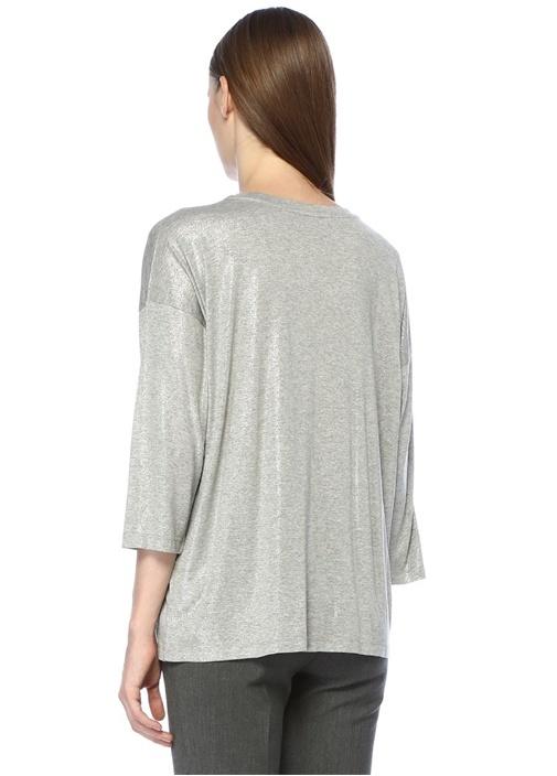 Gri Simli Düşük Omuzlu Basic T-shirt