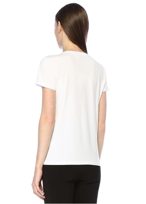 Beyaz V Yaka İşlemeli Kuş Patchli T-shirt