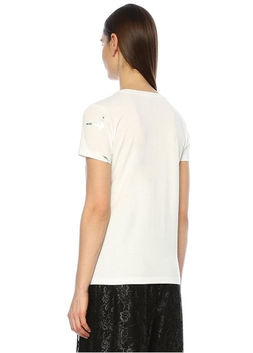 Beyaz Varak Kuş Baskılı Basic T-shirt