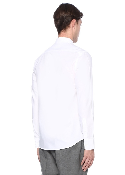 Slim Fit Beyaz Logolu Şerit Detaylı Gömlek