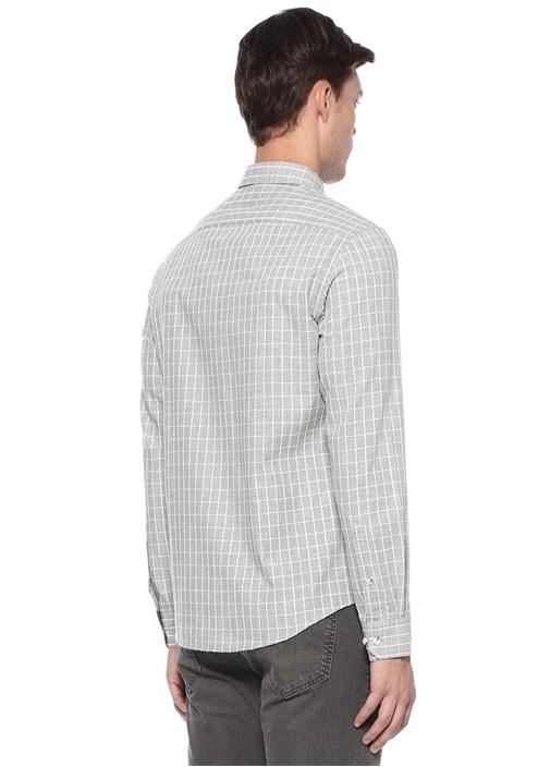 Slim Fit Gri Kareli Gömlek