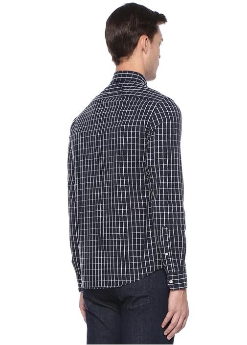 Slim Fit Lacivert Kareli Gömlek