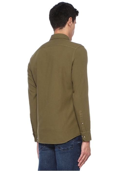 Slim Fit Yeşil Düğmeli Yaka Dokulu Gömlek