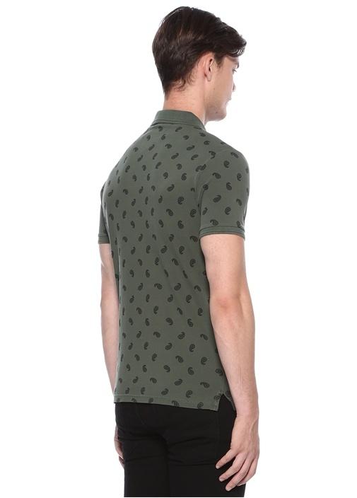 Slim Fit Yeşil Mikro Şal Desenli Polo Yaka T-shirt