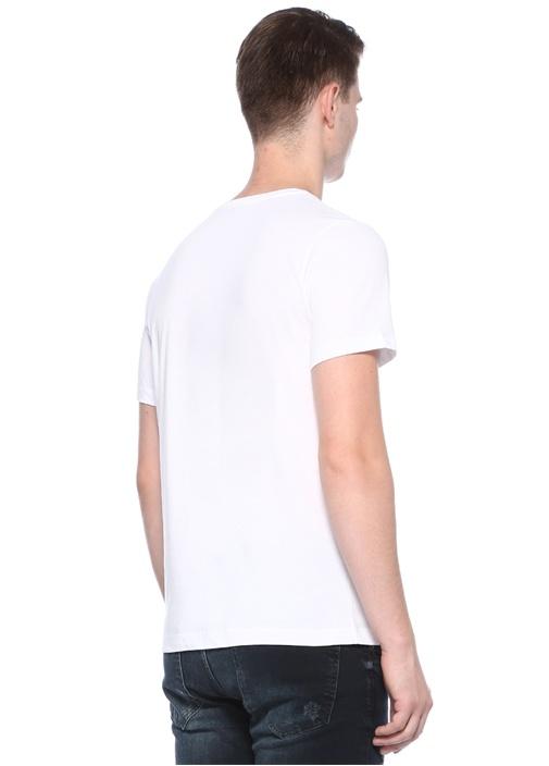 Beyaz Bisiklet Yaka Kabartma Baskılı T-shirt