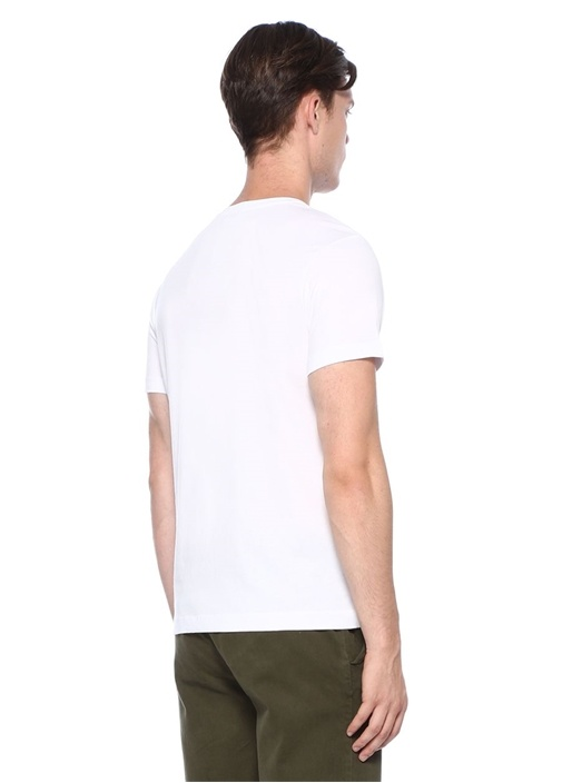 Beyaz Yazı Nakışlı Basic T-shirt