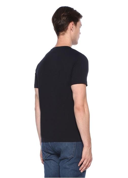 Lacivert Yazı Nakışlı Basic T-shirt