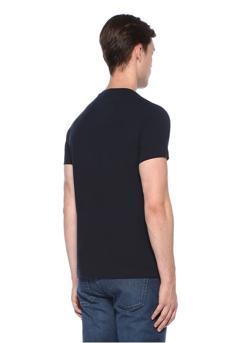 Lacivert Yazı Baskılı Basic T-shirt