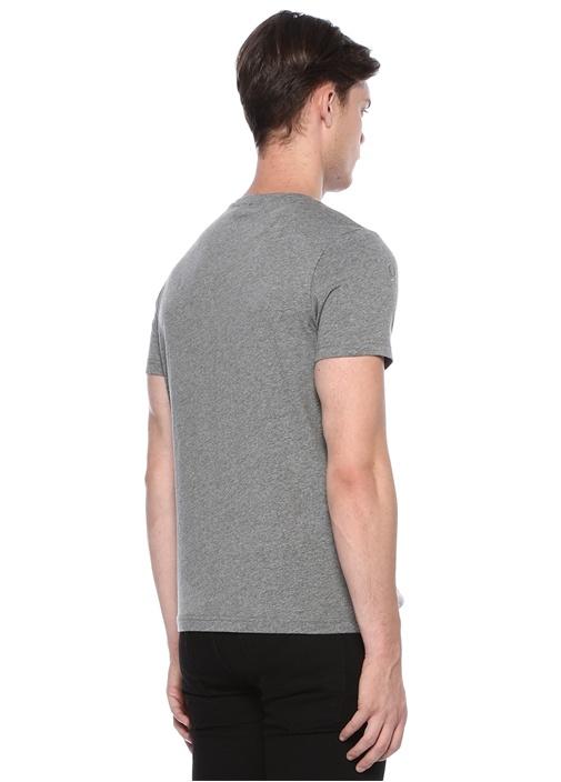 Gri Melanj Sayı Nakışlı Basic T-shirt