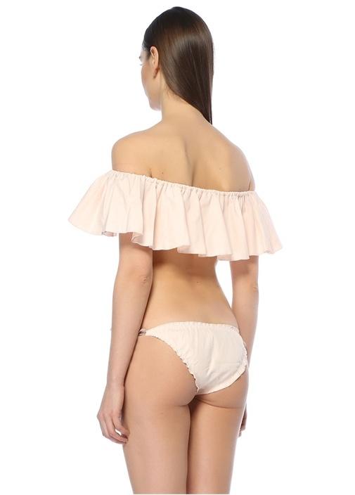 Jessie Pembe Straplez Volanlı Bikini Üstü