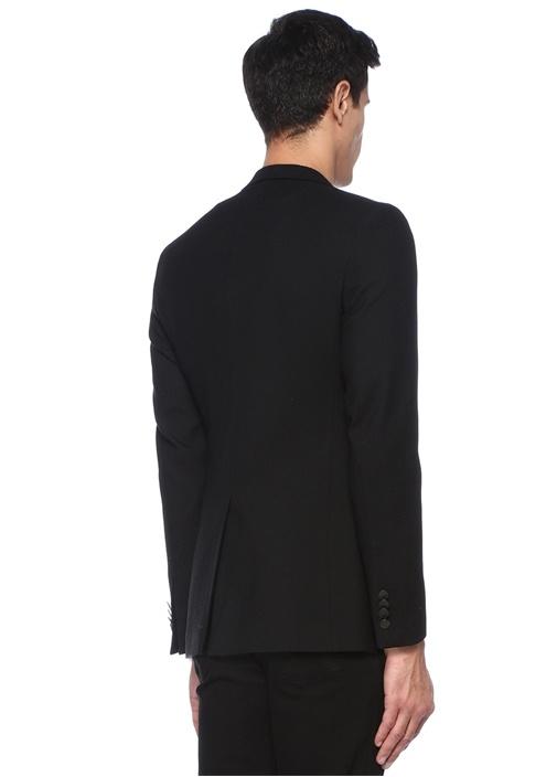 Siyah Petek Dokulu Kelebek Yaka Yün Blazer Ceket