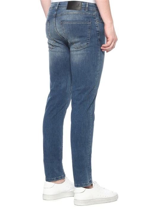 Slim Fit Mavi Pinstripe Baskılı Jean Pantolon
