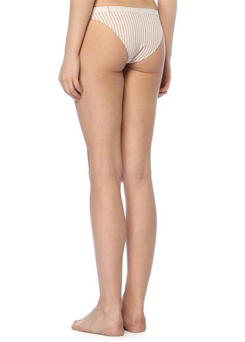 Pembe Beyaz Çizgili Bikini Altı