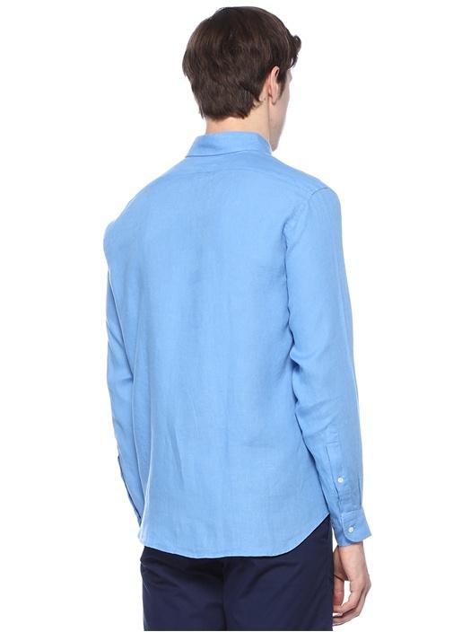 Martin Mavi Melanj Yakası Düğmeli KetenGömlek