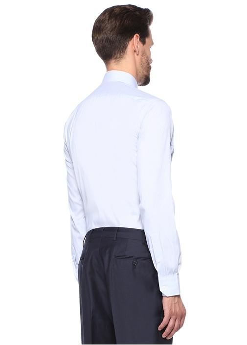 Custom Fit Mavi Çizgili Gömlek