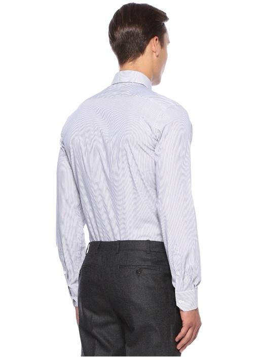 Lacivert Custom Fit Çizgili Gömlek