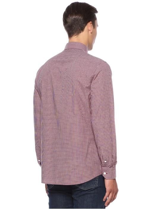 Custom Fit Bordo Yakası Düğmeli Pötikareli Gömlek