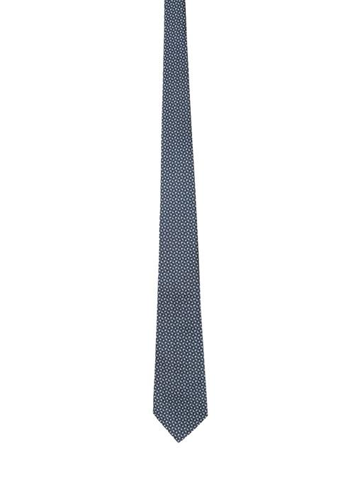 Siyah Mavi Mikro Desenli Erkek İpek Kravat